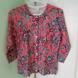 Women's size medium Sarah Spencer paisley sweater